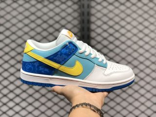 New 2020 Nike SB Dunk Low White/Yellow-Pwdr Blue Sneakers 309601-471