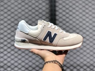 2020 Latest New Balance 574 Beige/Navy Blue-White Jogging Shoes ML574SCD