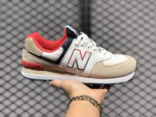 New Balance 574 Bone With Toro Red Casual Sport Shoes For Sale