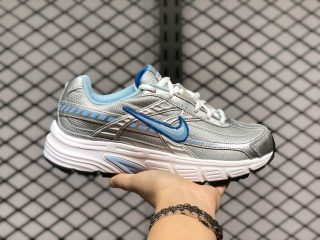 Nike Wmns Initiator Top Lace Up Tennis Shoes 394053-001 White/Silver-Blue