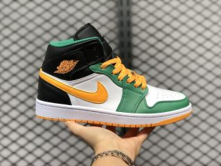 2020 Air Jordan 1 Mid Gorge Green/University Gold-White-Black 554724-307