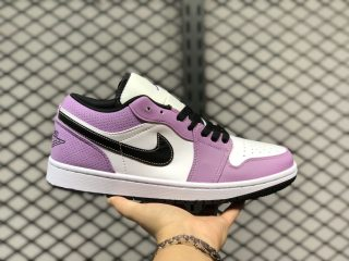2020 Latest Air Jordan 1 Low White/Purple-Black For Sale CK3022-503
