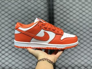 "2020 Latest Nike Dunk Low ""Syracuse"" White/Orange Blaze CU1726-101"