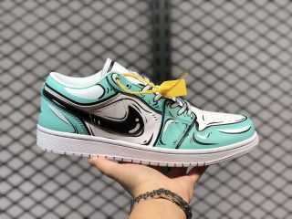 "Air Jordan 1 Low GS ""Graffiti"" White/Blue-Black Online Buy 676854-110"