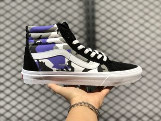 Most Popular Vans SK8-Hi Black Purple Camo Skateboarding Shoes