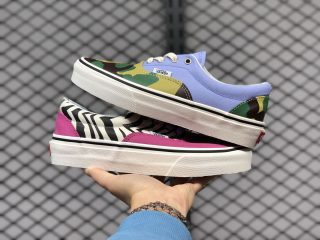 New Sale Vans Era Mismatch Pink Zebra Camo Skate Shoes VN0A4U39WS8