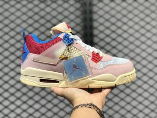 Union x Air Jordan 4 Guava Ice/Light Bone-Brigade Blue-Light Fusion Red DC9533-800