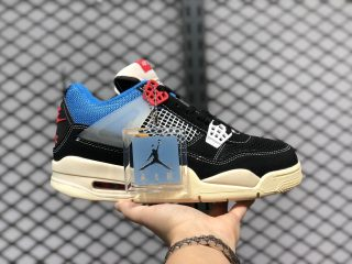 Union x Air Jordan 4 Off Noir/Brigade Blue-Dark Smoke Grey-Light Fusion Red DC9533-001