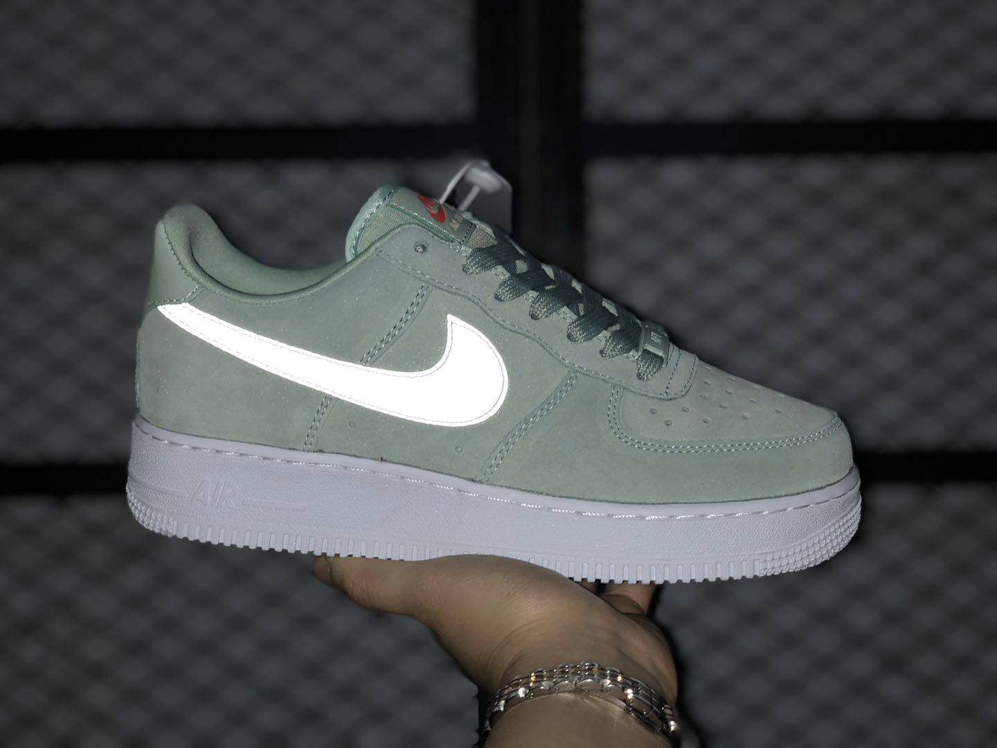 nike green and white shoes