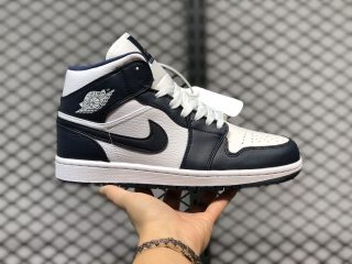 Air Jordan 1 Mid 554724-174 White/Obsidian-Metallic Gold Outlet Online