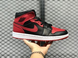 "Air Jordan 1 Mid ""Bred"" Basketball Shoes Online Buy 554724-074"