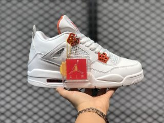 Air Jordan 4 White/Team Orange-Metallic Silver For Buy CT8527-118