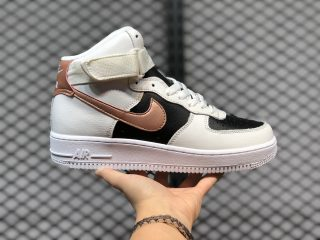 Nike Air Force 1 High Beige/Black-Copper Swooshes Outlet Online DB5080-100