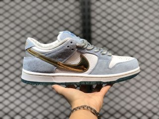 Sean Cliver x Nike SB Dunk Low DC9936-100 White/Psychic Blue-Metallic Gold