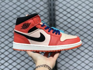 Air Jordan 1 Mid Team Orange/Black Basketball Shoes 852542-800