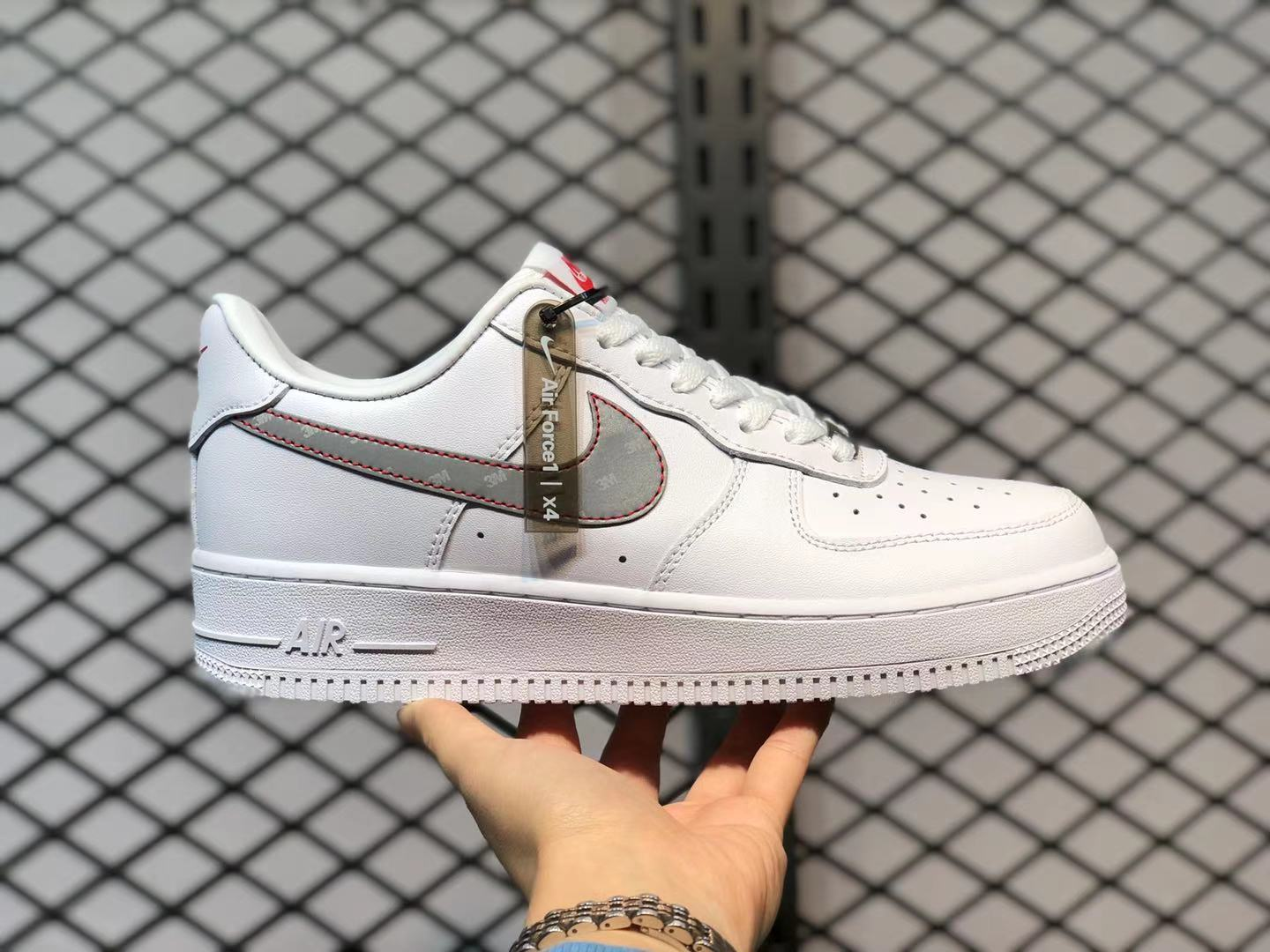 """CT2296-100 Nike Air Force 1 Low """"3M Swoosh"""" White/Silver ..."""