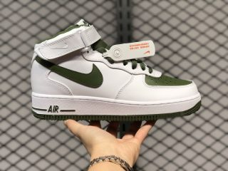 Nike Air Force 1 Mid Retro White/Dark Green Outlet Online 554724-088