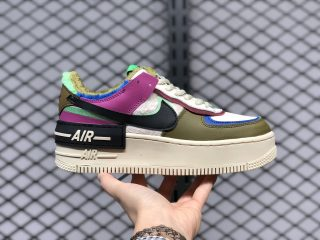 Nike WMNS Air Force 1 Shadow Olive/Royal Blue-Purple Multi-Color CT1985-500