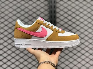 Nike Wmns Air Force 1 Low White Flax Hot Pink Hot Sale DC1156-700