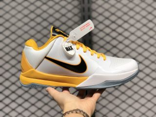 Nike Zoom Kobe 5 White Black Yellow 386430-104 Men's Basketball Shoes