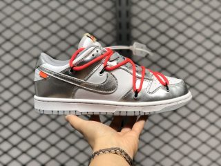 Off-White x Nike SB Dunk Low Silver Metallic/White-Solar Red CT0856-800