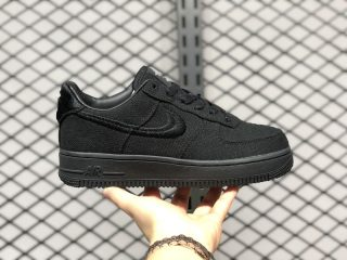 Stussy x Nike Air Force 1 Low Black/Black For Sale CZ9084-001