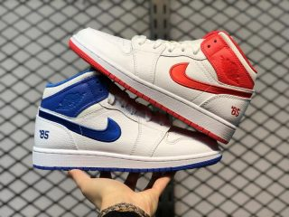 """Air Jordan 1 Mid """"85"""" White Red Blue Outlet Online DH0200-100"""