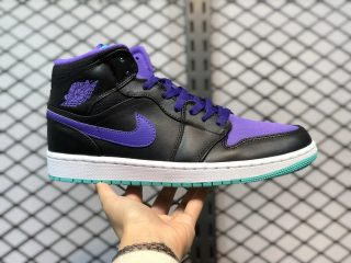 Air Jordan 1 Mid Black/Grape Ice-New Emerald Outlet Online 554724-015