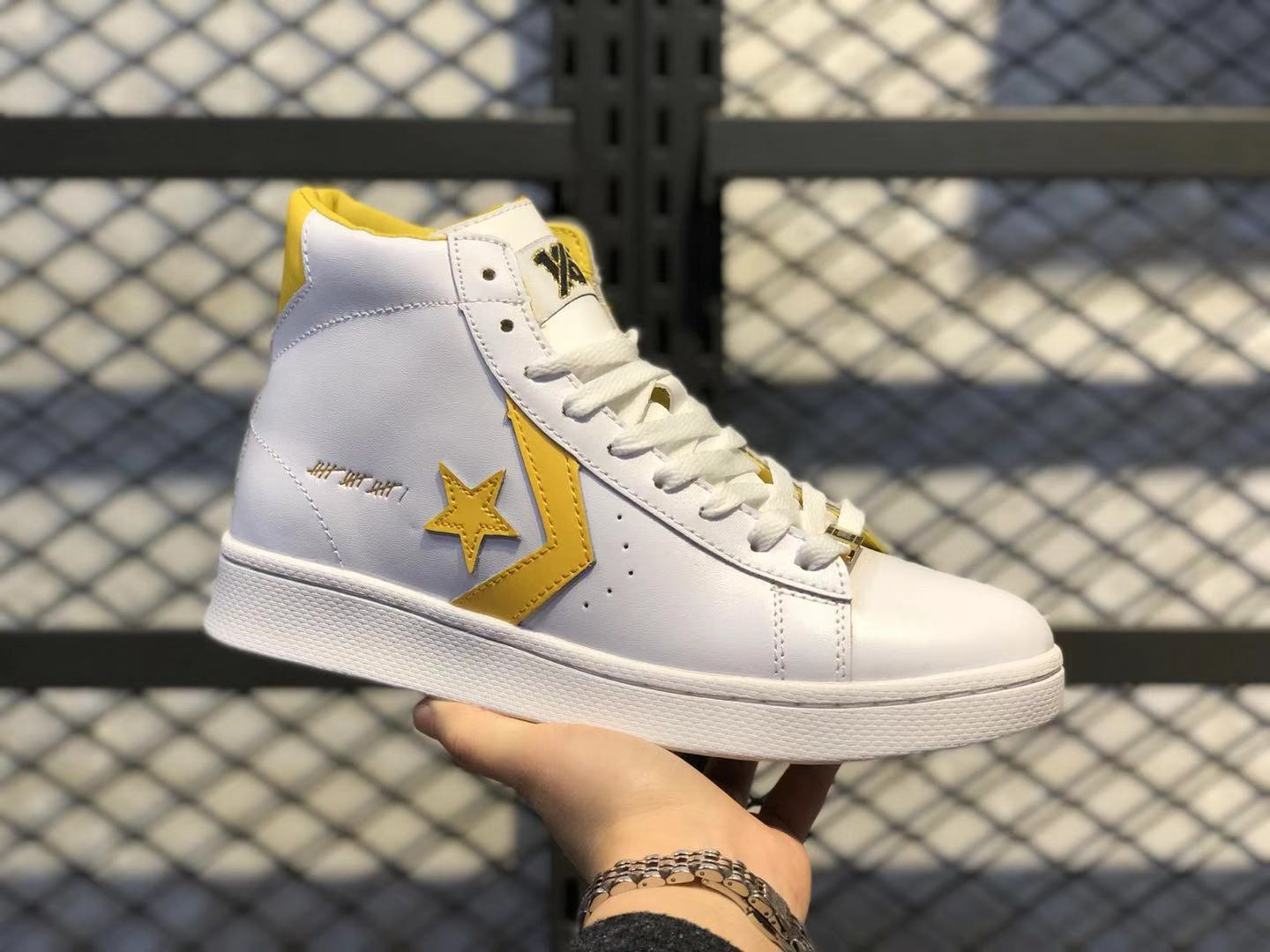 Converse Pro Leather Mid Top Shoes White Yellow 166812C | Sneakers ...