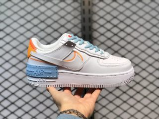 """Nike Air Force 1 Shadow """"Be Kind"""" White Yellow Orange Light Blue DC2199-100"""