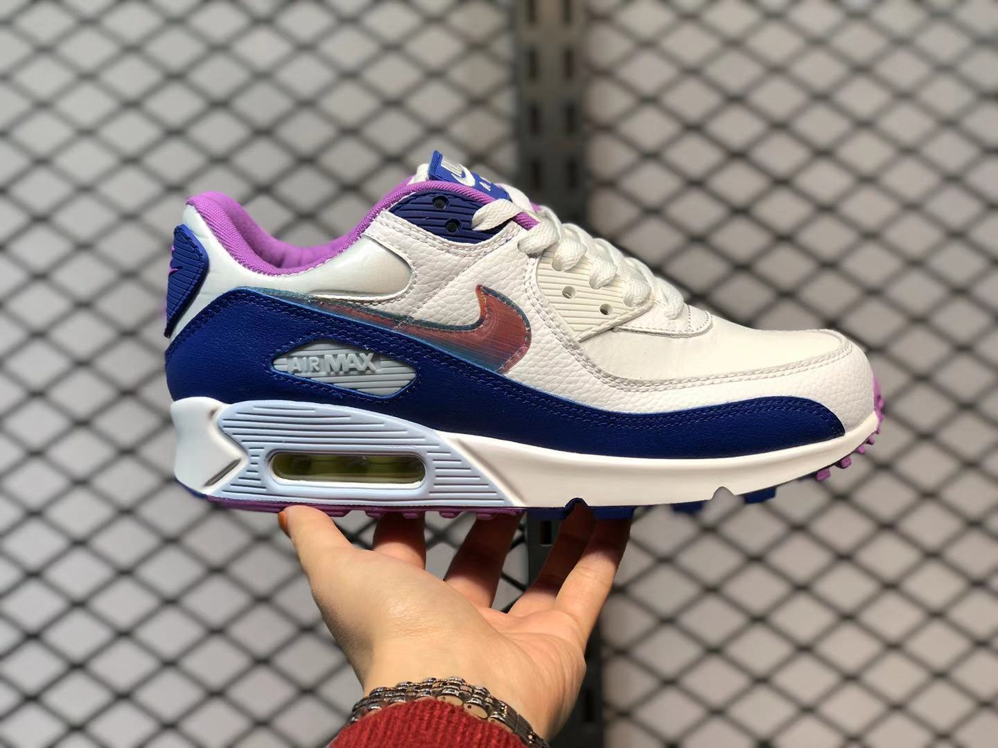 """Latest Nike Air Max 90 """"Easter"""" White/Blue-Purple CT3623-100 ..."""
