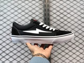 Revenge x Storm Pop-up Black White Lightning Flame Casual Canvas Shoes