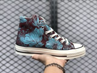"""Converse Chuck 1970s """"Floral"""" Black/Gnarly Blue Canvas Shoes"""