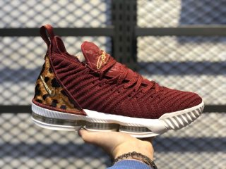 "Nike LeBron 16 EP ""King"" Deep Red/Metallic Gold-Cheetah Print AO2595-601"