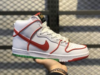 Paul Rodriguez x Nike SB Dunk High White/University Red-Green CT6680-100