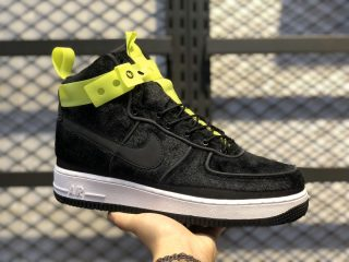 "Magic Stick x Nike Air Force 1 High ""Black Velour"" Black/Volt Black 573967-003"