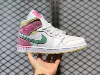 "Air Jordan 1 Mid GS ""Paint Drip"" Ice Cream Hot Sale DD1666-100"