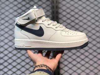 Nike Air Force 1 07 Mid White Navy Blue Sneakers Best Sell CT7876-994
