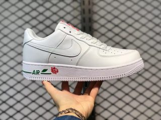 """Nike Air Force 1 Low """"Rose"""" White/University Red-Pine Green CU6312-100"""