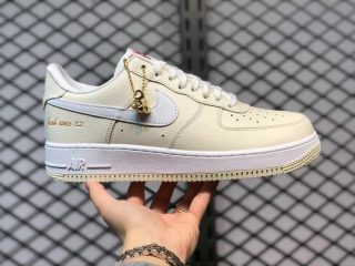 """Nike Air Force 1 '07 """"Popcorn"""" Coconut Milk/White-University Red CW2919-100"""