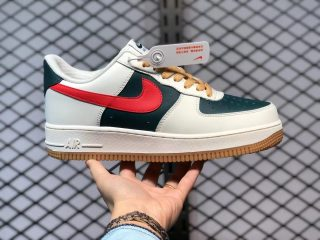 Nike Air Force 1 Low White/Olive Green-Fire Red Outlet Online AQ3778-991