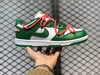 """Off-White x Nike Dunk Low """"Pine Green"""" Skate Shoes CT0856-100"""