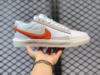 Sacai x Nike Blazer low White/Orange-Grey Casual Skate Shoes BV0076-107