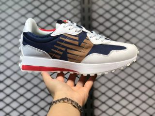 """New Balance 327 """"Olympic"""" Navy White Red Gold Running Shoes MS327BTK"""