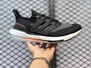 Adidas Ultra Boost 21 Black Grey White Fire Red Running Shoes FZ2056