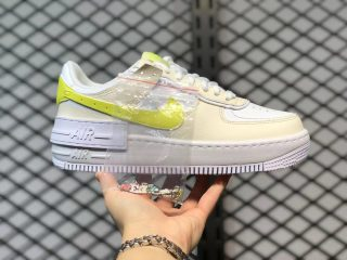 """Nike Air Force 1 Shadow """"Have A Nike Day"""" White/Light Beige-Neon Yellow DJ5197-100"""