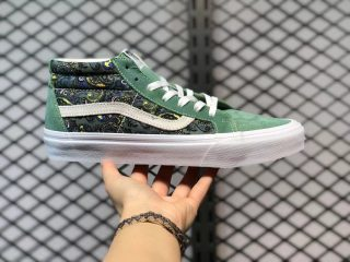 Vans Sk8-Mid Hedge Green Suede Canvas Skate Shoes Cheap Sale VN0A391F6TM