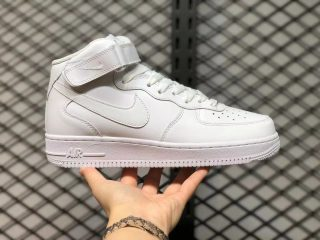 Nike Air Force 1 07 Mid GS Triple White Sneakers 366731-100 For Sale