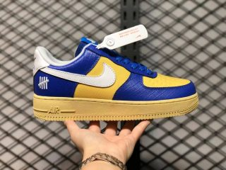 """Undefeated x Nike Air Force 1 """"5 On It"""" Court Blue/White-Gold DM8462-400"""